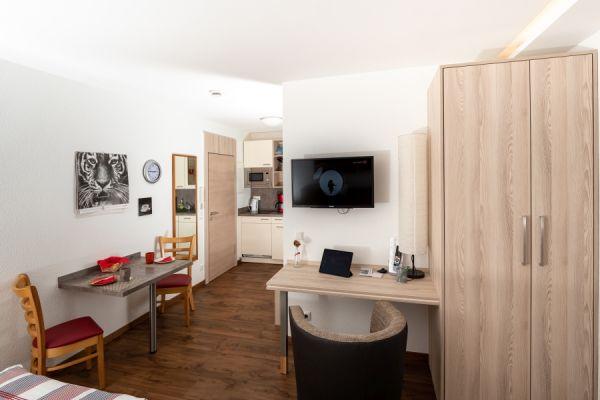 Blick auf den Eingangsbereich im Apartment Alme